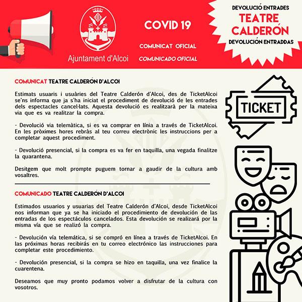 EFECTUADA la DEVOLUCIÓN de localidades del Teatre Calderón